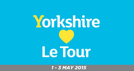 """a poster saying: Yorkshire """"hearts"""" le tour"""