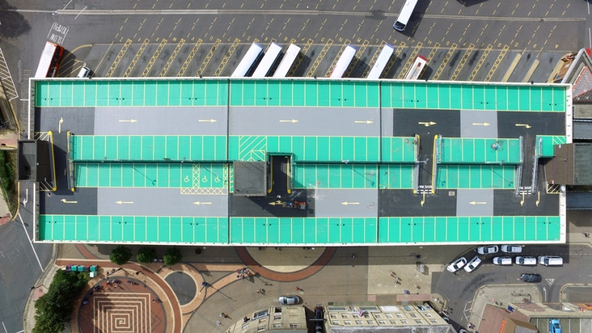 Horizontal view of bus station car park
