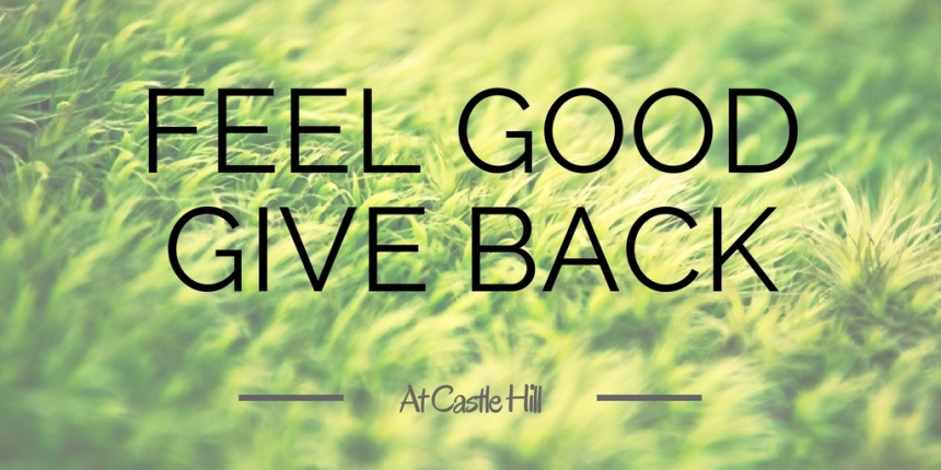 Tile that says feel good, give back