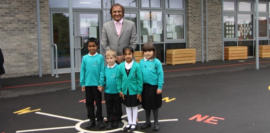 Cllr Masood Ahmed and pupils at new Luck Lane facility at Royds Hall