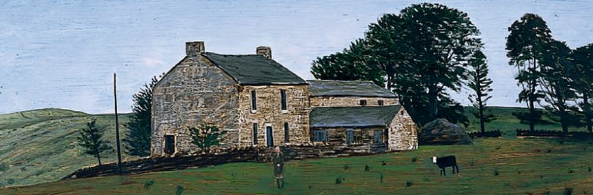 Peter Brook Painting entitled Hannah Hauxwell - a woman in front of a farm house