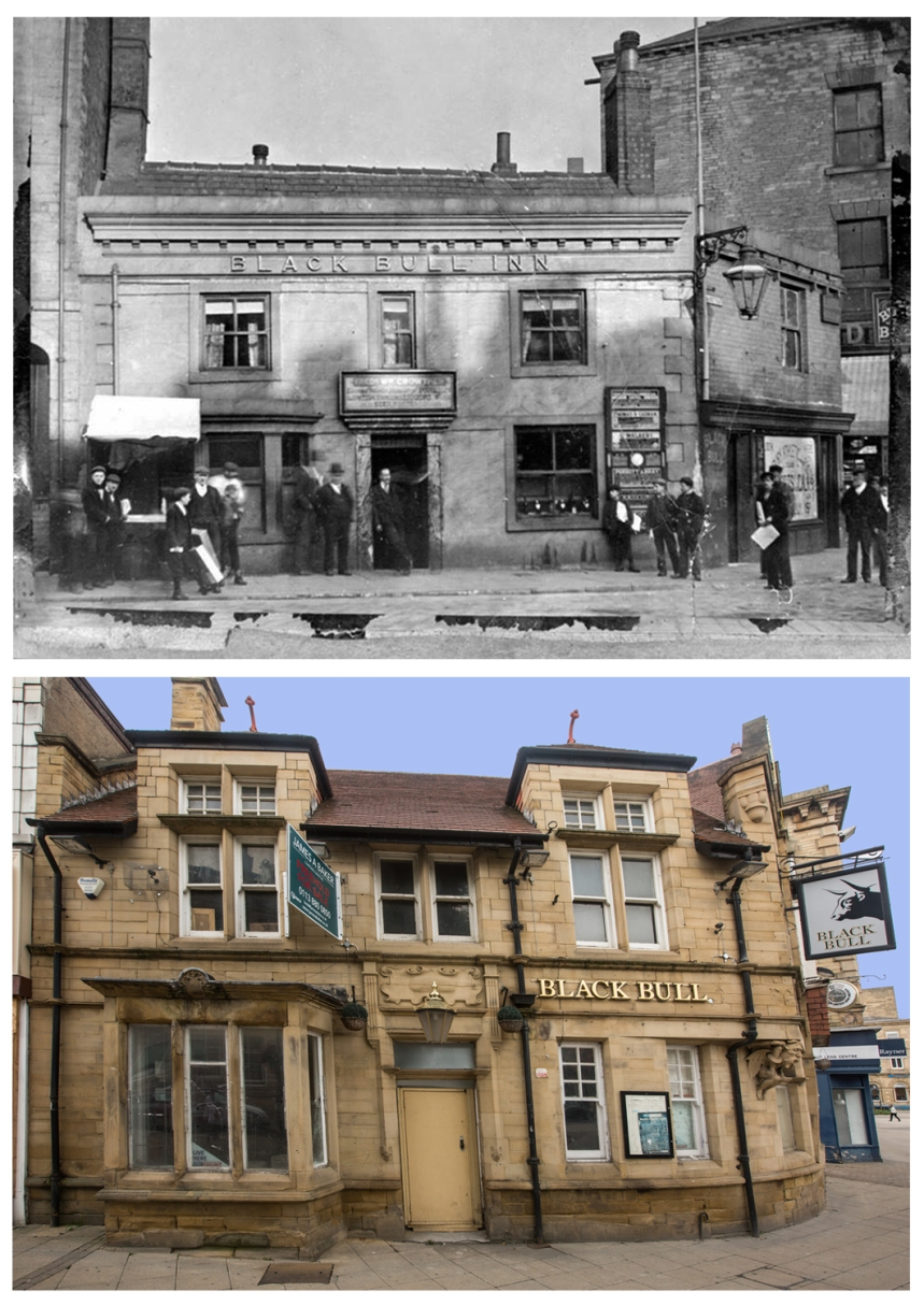 Black Bull old and new courtesy of Frank Lodge at Dewsbury Photography Group